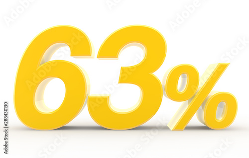 Αφίσα  63 percent on white background illustration 3D rendering