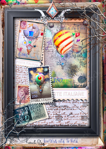 Tuinposter Imagination Vintage and old fashioned postcard with a steampunk hot air balloon