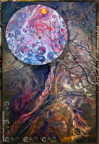 Tuinposter Imagination Background with abstract landscape with enchanted tree