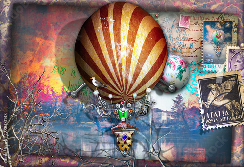 Photo sur Toile Imagination Old fashioned postcard with montgolfier