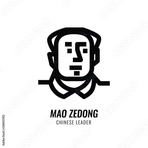 Fotografia Mao Zedong Avatar. Chinese leader. Line character design. vector