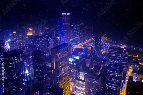 Cityscape at nightlight in Chicago,USA Canvas Print