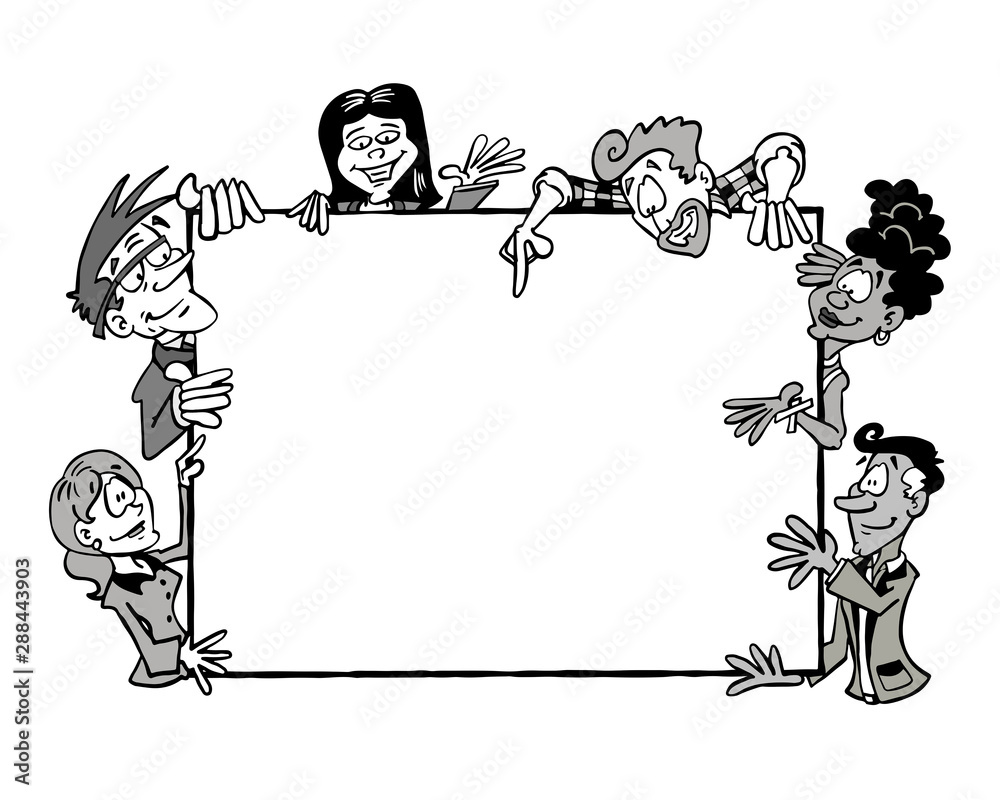 Fototapeta Multicultural team holding an empty frame