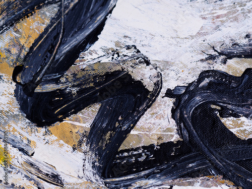 Hand draw brushstroke oil painting black color abstract white background. #288446590