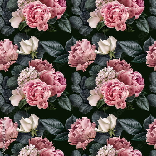 Floral Seamless Pattern With Pink Peonies And Green Leaves White Roses Hydrangea Flowers Isolated On Dark Background Can Be Used For Wallpaper Design Packaging Textile Decorative Print Buy This Stock Photo