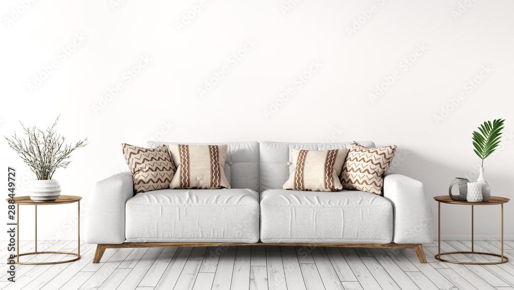 Fototapeta Interior of modern living room with white sofa 3d rendering