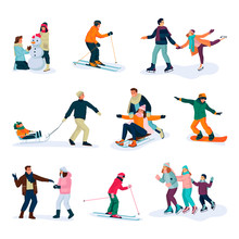 Winter Sports, Lifestyle And Activities. Happy People, Isolated On White Background. Vector Flat Cartoon Illustration