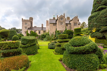 Medieval house and park of Levens Hall in Cumblria, UK with world`s oldest topiary garden.