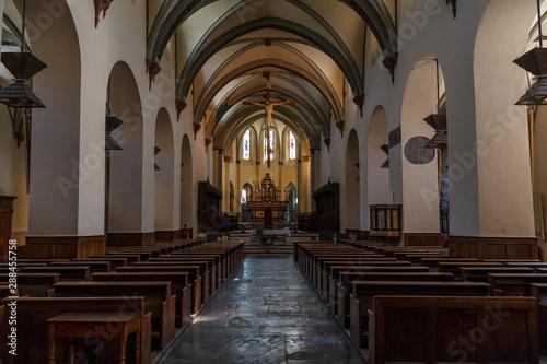 AOSTA / ITALY - JULY 2015: Church interior in the historic centre of Aosta, Ital Canvas Print