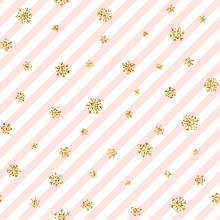 Christmas Gold Snowflake Seamless Pattern. Golden Glitter Snowflakes On Pink White Diagonal Lines Background. Winter Snow Design Wallpaper Symbol Holiday, New Year Celebration. Vector Illustration