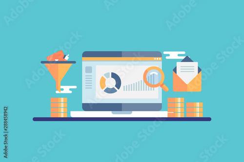 Fotografiet Conversion funnel optimization, ecommerce marketing,  customer data anakytic concept