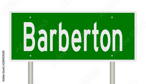 Rendering of a green highway sign for Barberton Ohio Canvas Print