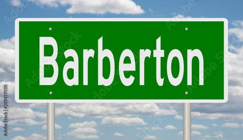 Rendering of a green highway sign for Barberton Ohio Wallpaper Mural