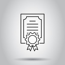 Certificate Icon In Flat Style. License Badge Vector Illustration On Isolated Background. Winner Medal Business Concept.