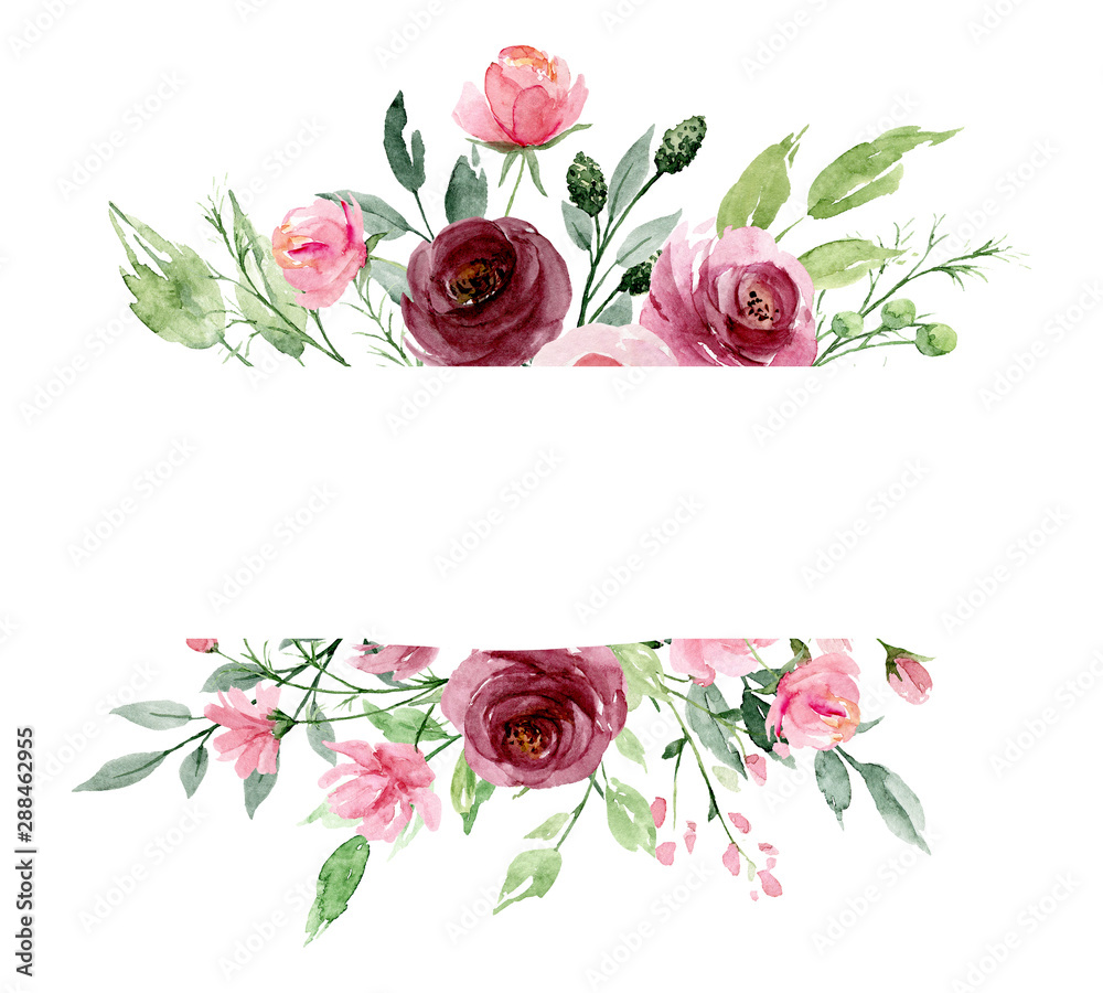 Fototapety, obrazy: Greeting card template with watercolor flowers, floral frame with pink roses, illustration hand painted. Isolated on white background.