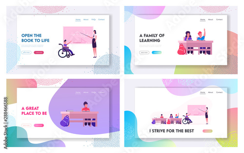 Foto auf Gartenposter Cartoon cars Disability and Education in School Website Landing Page. Healthy and Handicapped Children on Lesson Gaining Knowledges. Kids Studying, Back to School Web Page Banner. Cartoon Flat Vector Illustration