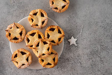 Delicious Fruit Mince Tarts For Christmas Dinner. Grey Background, Selective Focus