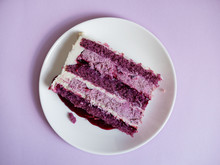 Purple Piece Of Cake On The Plate
