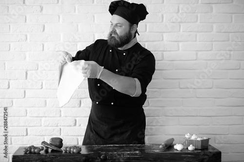 cook black and white photo Tablou Canvas