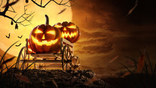 Halloween Pumpkins On Farm Wagon At Spooky In Night Of Full Moon And Bats Flying