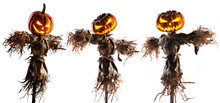 Halloween Pumpkin Scarecrow Isolated On White Background