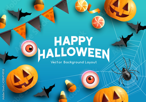 Spoed Fotobehang Halloween Halloween celebrations with pumpkins, bats and spooky decorations. Vector illustration.