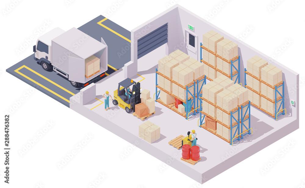 Fototapeta Vector isometric warehouse interior