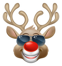 Christmas Reindeer Red Nosed Deer Cartoon Character Wearing Cool Shades Or Sunglasses
