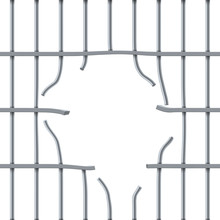 Hole In Prison Bar On White Background