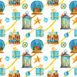 Watercolor bright seamless pattern with a glass sphere, candles, gifts, and stars in a vintage style in blue and gold colors. Can be used as Christmas design for wrapping, postcards, or textile