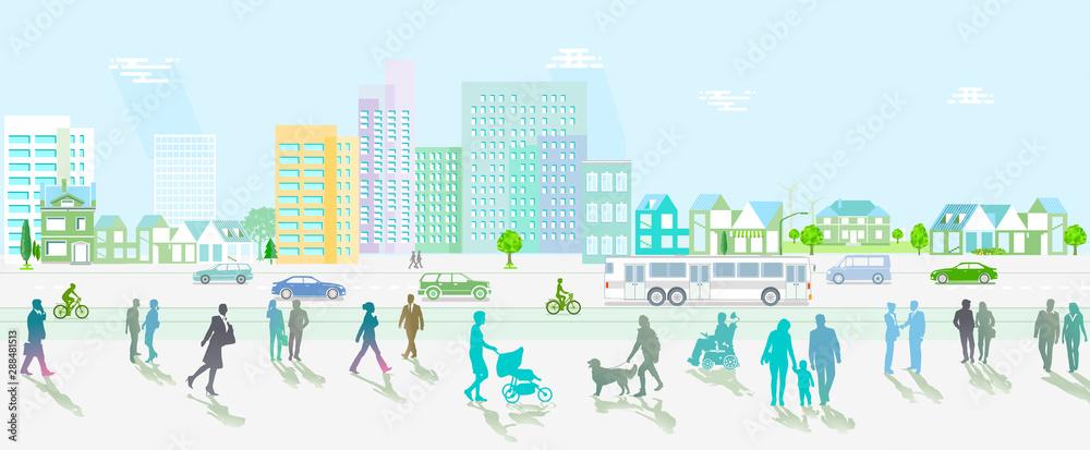 Fototapeta Stadt mit Straßenverkehr undFußgänger auf den Gehweg