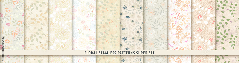 Fototapeta Floral seamless pattern set. Flowers and leaves.. Color vector background. Summer and spring print