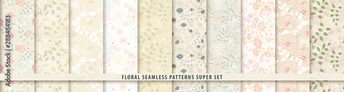 Photo Floral seamless pattern set