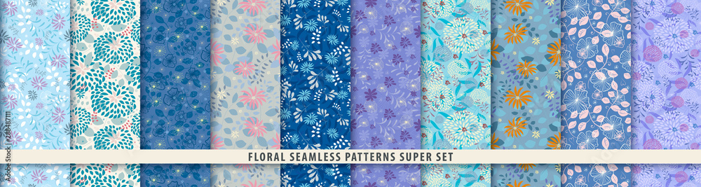 Fototapeta Floral seamless pattern set. Flowers and leaves.. Blue vector background. Summer and spring print