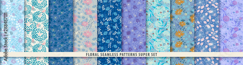 Floral seamless pattern set Wallpaper Mural