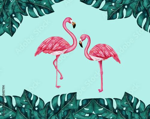 Canvas Prints Flamingo Flamingos and tropical monstera leaves on the soft blue background