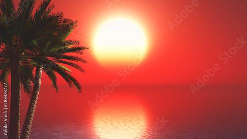Poster Corail 3D palm trees against sunset ocean landscape