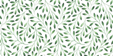 Naklejka Liście Seamless pattern with stylized leaves. Watercolor hand drawn illustration.