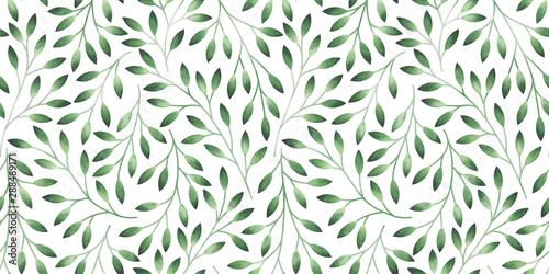Seamless pattern with stylized leaves. Watercolor hand drawn illustration. - 288489171