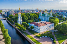 Russia. View Of Petersburg From Above. Panorama Of St. Petersburg On A Summer Day. St. Nicholas Naval Cathedral. The Kryukov Canal. Channels Of St. Petersburg. Churches Of Petersburg