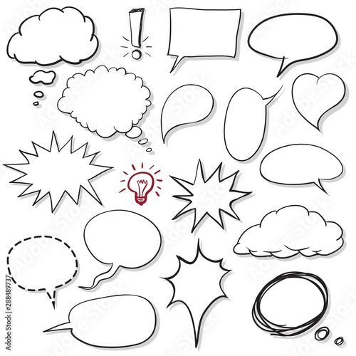 Speech bubbles or balloons blank for comics hand drawing style icon set.