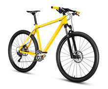 Yellow Black 29er Mountainbike With Thick Offroad Tyres. Bicycle Mtb Cross Country Aluminum, Cycling Sport Transport Concept Isolated White Background