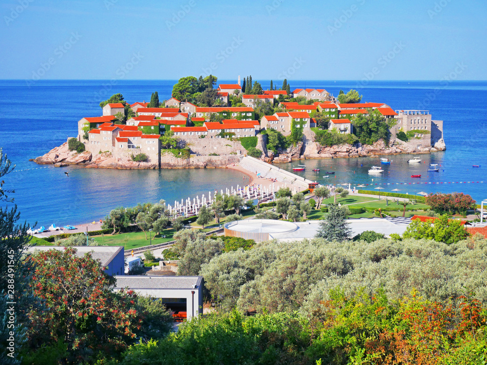 Fototapety, obrazy: Sveti Stefan island and beach in sunny summer day, Budva, Montenegro. Vew of top