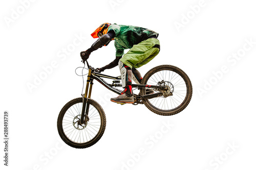 Stampa su Tela downhill racing dh rider isolated on white background