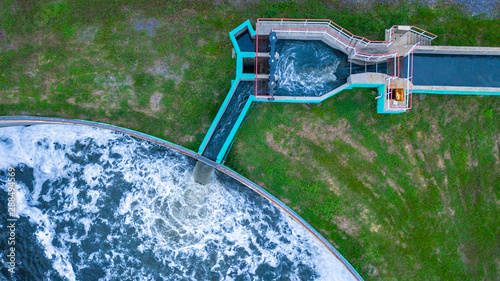 Photo Aerial view water treatment tank with waste water.