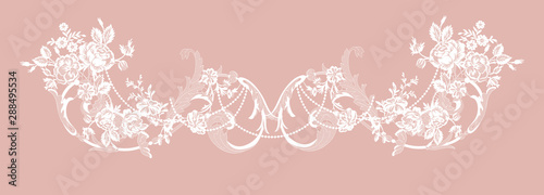 romantic lace flowers decoration element Tablou Canvas