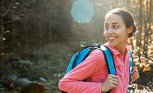 Portrait Of Woman Hiker With S...