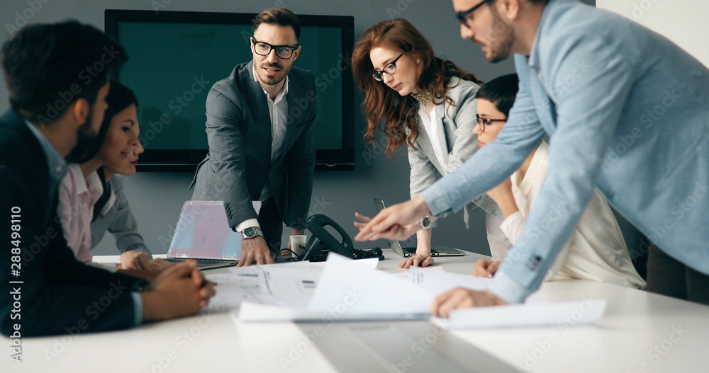Fototapeta Business meeting in modern conference room