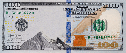 Fototapeta U.S. 100 dollar border with empty middle area obraz