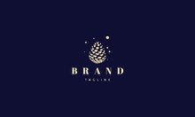 Vector Golden Logo With An Abstract Image Of A Pine Cone.